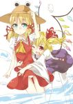 ascot blonde_hair blue_eyes blush cosplay costume_switch fang flandre_scarlet flandre_scarlet_(cosplay) hair_ribbon hand_on_hat hat hat_removed headwear_removed hug hug_from_behind ibuki_notsu moriya_suwako moriya_suwako_(cosplay) multiple_girls open_mouth panties payot red_eyes ribbon short_hair simple_background skirt skirt_set thigh-highs thighhighs touhou underwear water white_background white_legwear white_panties wings wink