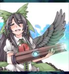 alternate_weapon arm_cannon black_hair black_wings blush bow closed_eyes eyes_closed glowing glowing_weapon hair_bow hamira-ze letterboxed long_hair open_mouth puffy_sleeves reiuji_utsuho shirt short_sleeves skirt smile solo tears third_eye touhou weapon wings