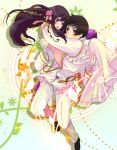 1girl axis_powers_hetalia black_hair blush brown_eyes carrying chinese_clothes couple flower hair_flower hair_ornament japan_(hetalia) long_hair military military_uniform princess_carry short_hair taiwan_(hetalia) uniform uya