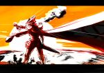 akame_ga_kill! armor border cape drawfag explosion faulds helmet highres mask power_suit solo tatsumi_(akame_ga_kill!)