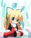 blonde_hair blue_eyes blush capcom highres loli megaman_(game) oka_(artist) oka_(bananashoe) ribbon robot rockman rockman_(classic) roll sitting solo zoom_layer