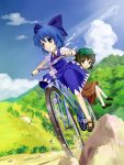 animal_ears bad_id bicycle blue_eyes blue_hair bow brown_eyes brown_hair cat_ears cat_tail chen cirno hair_bow hat hidebo multiple_girls multiple_tails short_hair tail touhou wings