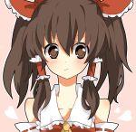 alternate_hairstyle bin-pu blush brown_eyes brown_hair hakurei_reimu ribbon solo touhou twintails yuiki_(cube)