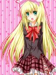 blonde_hair blue_eyes bow hair_bow highres long_hair ribbon school_uniform seitokai_no_ichizon shiina_mafuyu skirt very_long_hair