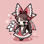 bow character_name chibi gohei hair_bow hair_ribbon hair_tubes hakurei_reimu japanese_clothes long_hair miko panda_lanlan red ribbon solo star tiptoes touhou wide_sleeves
