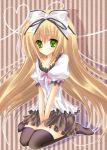 bad_id blonde_hair blue_eyes blush bow hair_bow long_hair ribbon seitokai_no_ichizon shiina_mafuyu skirt solo thigh-highs thighhighs very_long_hair zettai_ryouiki