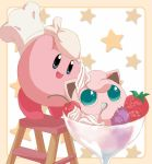 blueberry chef_hat cherry eating food fruit hat honcha hoshi_no_kirby icing in_food jigglypuff kirby kirby_(series) ladder no_humans parfait pokemon pokemon_(creature) spoon star strawberry super_smash_bros. super_smash_bros_64