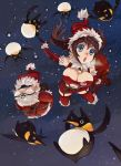 bird blue_eyes breasts brown_hair christmas gag gagged highres large_breasts long_hair night open_mouth original penguin penguin_caee rope santa_claus satire sky snow
