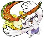 bird ho-oh lugia micho no_humans pokemon pokemon_(creature) pokemon_(game) pokemon_gsc simple_background