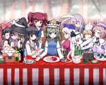 :t alice_margatroid animal_ears artist_request bunny_ears everyone fine_art_parody food hakurei_reimu hat hitodama houraisan_kaguya kirisame_marisa konpaku_youmu konpaku_youmu_(ghost) multiple_girls onozuka_komachi parody patchouli_knowledge reisen_udongein_inaba ribbon rod_of_remorse saigyouji_yuyuko shikieiki_yamaxanadu short_hair the_last_supper touhou yagokoro_eirin zakone