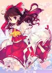 1girl ahoge bare_shoulders bow brown_hair detached_sleeves frills gohei hair_bow hakurei_reimu japanese_clothes long_hair looking_at_viewer red_eyes red_hair shinia smile solo touhou