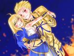 armor bad_end bare_shoulders blonde_hair blood blood_on_face blood_stain breasts bruise cleavage clenched_teeth dutch_angle fate/stay_night fate_(series) gilgamesh gold_armor green_eyes injury long_hair motsu_(artist) red_eyes saber smile torn_clothes wince wrist_grab