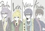 ahoge bad_id bespectacled black_hair blonde_hair blue_hair casual column_lineup flat_color glasses hiyama_kiyoteru jacket jewelry kagamine_len kaito kamui_gakupo multiple_boys muted_color necklace necktie ponytail purple_hair scarf simple_background smile vocaloid zumi