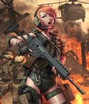 2boys assault_rifle bandaid blue_eyes fingerless_gloves fire freckles g36 gloves gun heart heckler_&_koch helicopter helmet ikegami_noroshi multiple_boys noroshi_ikegami original red_hair redhead rifle short_hair weapon wink