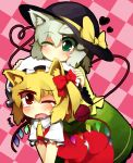 animal_ears biting blonde_hair cat_ears checkered checkered_background dog_ears ear_biting flandre_scarlet green_legwear grey_hair hat heart kemonomimi_mode komeiji_koishi multiple_girls open_mouth red_eyes short_hair side_ponytail sorrau tears third_eye touhou wavy_mouth wings wink