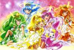 absurdres animedia aoki_reika blonde_hair blue_eyes blue_hair candy_(smile_precure!) crown cure_beauty cure_happy cure_march cure_peace cure_sunny green_eyes green_hair highres hino_akane hoshizora_miyuki huge_filesize kawamura_toshie kise_yayoi kneeling legs long_hair midorikawa_nao multiple_girls official_art open_mouth orange_hair pink_eyes pink_hair ponytail precure princess_form_(smile_precure!) red_eyes smile_precure! thigh-highs thighhighs very_long_hair white_legwear yellow_eyes zettai_ryouiki