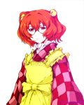akenoin_soumon apron bell checkered clothes_writing glasses hair_bell hair_ornament long_sleeves looking_at_viewer motoori_kosuzu red_eyes red_hair redhead short_hair short_twintails simple_background sleeves smile solo touhou twintails white_background wide_sleeves