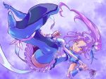 blue_legwear boots brooch cure_beat foreshortening frills hair_ornament hairpin high_heels highres jewelry kurokawa_ellen long_hair love_guitar_rod magical_girl ponytail precure puffy_sleeves purple_background purple_hair ryon shoes siren_(suite_precure) skirt smile solo suite_precure thigh-highs thigh_boots thighhighs upskirt yellow_eyes