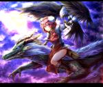 bandage bandages bird blue_eyes boots claws double_bun dragon dragon_horns eagle eastern_dragon facial_mark facial_tattoo fangs flower flying glowing glowing_eyes ibaraki_kasen letterboxed looking_at_viewer pink_eyes pink_hair pink_rose red_eyes riding rose ryuuichi_(f_dragon) shirt short_hair skirt smile solo tabard tattoo touhou