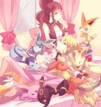 1girl bed blush book brown_hair closed_eyes eevee espeon eyes_closed flareon glaceon green_hair hair_ribbon hand_to_mouth high_ponytail jolteon leafeon long_hair n_(pokemon) pokemon pokemon_(game) pokemon_bw ribbon sleeping smile torute touko_(pokemon) umbreon vaporeon vest victini wristband