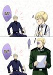 2boys adult age_progression axis_powers_hetalia blonde_hair blue_eyes child chinese closed_eyes eyes_closed germany_(hetalia) male military military_uniform multiple_boys open_mouth prussia_(hetalia) silver_hair smile suspenders translated uniform young
