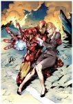 1girl armor business_suit fire glowing high_heels highres iron_man marvel pepper_potts ruins ryuuta_(ipse) shoes tony_stark