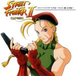 90s ahoge album_cover artist_request bare_shoulders beret braid breasts cammy_white cover drama_cd elbow_gloves fingerless_gloves gloves gun hat huge_ahoge leotard long_hair magazine_(weapon) murase_chukou muscle official_art pistol reloading scar solo street_fighter street_fighter_ii translated translation_request twin_braids weapon