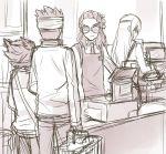 4boys adult endou_mamoru eyepatch goggles headband inazuma_eleven_(series) inazuma_eleven_go kidou_yuuto long_hair male matsukaze_tenma monochrome multiple_boys sakuma_jirou short_hair sketch tousaki_umiko
