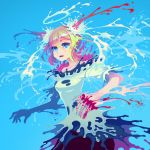 abstract blonde_hair blood blue_eyes bone liquid original short_hair simple_background solo zounose