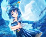 album_cover blue_eyes blue_hair breast_hold breasts cleavage cover crossed_arms dress flower full_moon hair_rings hair_stick kaku_seiga kisaragi_miyu moon smile solo touhou veil vest