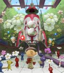 bald blonde_hair butterfly facial_hair flower ladder leaf louie multiple_boys mustache naru_(wish_field) olimar pikmin pikmin_(creature) pikmin_2 pointy_ears red_eyes sitting space_craft spacesuit