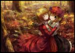 ;d absurdres ahoge aki_minoriko aki_shizuha autumn_leaves blonde_hair blush border closed_eyes dress eyes_closed food fruit grapes grass hair_ornament hand_on_another's_shoulder hand_on_another's_shoulder hat highres hug multiple_girls open_mouth red_eyes short_hair siblings sisters smile touhou tree wink yinzhai