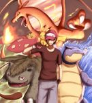blastoise charizard hat hiroki_eiki looking_at_viewer male pikachu pokemon pokemon_(game) red_(pokemon) smile venusaur