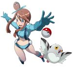 boots brown_hair diglett eroquis foreshortening from_above fuuro_(pokemon) gloves gym_leader hat midriff navel pidove poke_ball pokemon pokemon_(game) pokemon_bw revision short_shorts shorts simple_background solo white_background