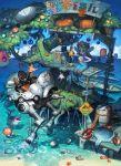 ball beach blue_eyes boat bottle cat dolphin fish flower food green_hair highres letters mandrill mecha original pumpkin short_hair shrimp sunfish sunflower tree twintails