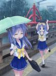 bag blue_eyes bridge closed_eyes eyes_closed highres hiiragi_kagami hiiragi_tsukasa isou_nagi kagami_hiiragi long_hair lucky_star mouth_hold rain revision school_uniform serafuku short_hair siblings sisters toast toast_in_mouth twins umbrella