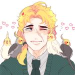 1boy ahoge bird blonde_hair cheek_press cockatiel green_eyes heart jojo_no_kimyou_na_bouken kisaragiyuu long_hair necktie robert_eo_speedwagon scar smile sweater wink