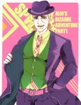 1boy belt blonde_hair coat formal green_eyes hand_in_pocket hat jojo_no_kimyou_na_bouken kisaragiyuu long_coat long_hair multicolored_eyes necktie pink_background pink_eyes robert_eo_speedwagon scar suit vest waistcoat