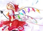 ascot blonde_hair crystal flandre_scarlet hat hat_ribbon laevatein ponytail puffy_sleeves red_eyes revision ribbon ribbons short_hair short_sleeves solo tagme_(artist) touhou wakame_mi weapon wings wrist_cuffs