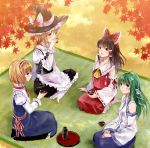 album_cover alice_margatroid blonde_hair blue_eyes braid brown_hair cover detached_sleeves fukahire_sanba green_eyes hairband hakurei_reimu hat indian_style japanese_clothes kirisame_marisa kochiya_sanae leaf long_hair maple_leaf miko multiple_girls revision ribbon seiza sitting touhou witch_hat yellow_eyes