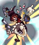 absurdres alex_ahad avery_(skullgirls) black_eyes bloomers bomb dress explosion eyes george_the_bomb gloves grin gun hat highres knife mechanical_arms official_art orange_hair peacock_(skullgirls) red_eyes revolver ribbon sharp_teeth short_hair skullgirls smile top_hat weapon