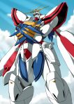 crossed_arms g_gundam god_gundam gundam mecha no_humans shouji_2 sky solo