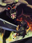 alex_ahad battle berserk cape chibi dragonslayer_(sword) guts horns huge_weapon monster sharp_teeth short_hair weapon zodd