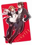 1girl alternate_costume alvin_(tales_of_xillia) apron black_legwear brown_eyes brown_hair butler dessert enmaided food formal gloves green_eyes grin hairband leia_roland maid mohi_(neku_re) mouth_hold pocky pocky_day red_background short_hair skirt smile suit tales_of_(series) tales_of_xillia thigh-highs thighhighs title_drop tray