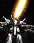 80s antennae armd cannon choujikuu_yousai_macross energy_gun epic firing highres macross macross:_do_you_remember_love? mecha oldschool realistic science_fiction sdf-1 space space_craft star_(sky) storm_attacker