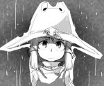 animal animal_on_head face frog grey greyscale hat looking_up monochrome moriya_suwako pyonta rain solo space_jin spacezin touhou
