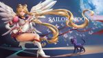 bishoujo_senshi_sailor_moon blonde_hair blue_eyes boots brooch butterfly cat doily elbow_gloves eternal_sailor_moon floating_hair gloves hair_ornament hairclip high_heels highres jewelry long_hair luna_(sailor_moon) ribbon sailor_moon shoes shoumura_(mix) signature squatting staff tsukino_usagi twintails very_long_hair wings