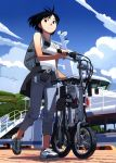 backpack bag bare_shoulders bicycle black_eyes black_hair blue_sky capri_pants folding_bicycle from_below highres no_socks original scan ship shirt shoes short_hair sky smile sneakers solo striped striped_shirt sweater_around_waist takamichi