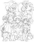 america_(hetalia) axis_powers_hetalia belarus_(hetalia) blush greece_(hetalia) highres japan_(hetalia) korea_(hetalia) lineart monochrome multiple_boys open_mouth russia_(hetalia) sealand_(hetalia) short_hair smile tokiazu united_kingdom_(hetalia)