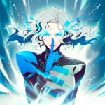 albireo_01x blue_eyes blue_fire fire floating_hair gloves glowing glowing_eyes grey_hair lips long_hair lunatic_(tiger_&_bunny) male pale_skin revision silver_hair solo tiger_&_bunny white_hair yuri_petrov